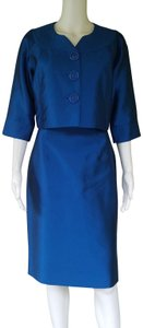 Kay Unger KAY UNGER Blue Silk Blend Skirt Suit 6