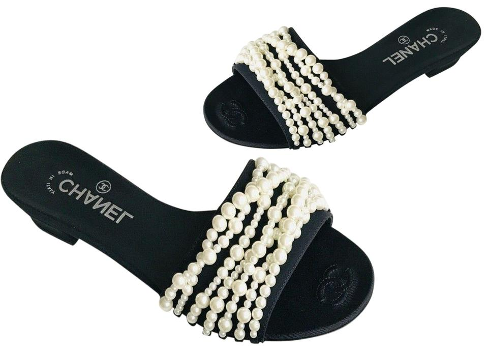 Chanel Black   Ivory Satin White Cc Pearl Sandals Mules Slides Size ...