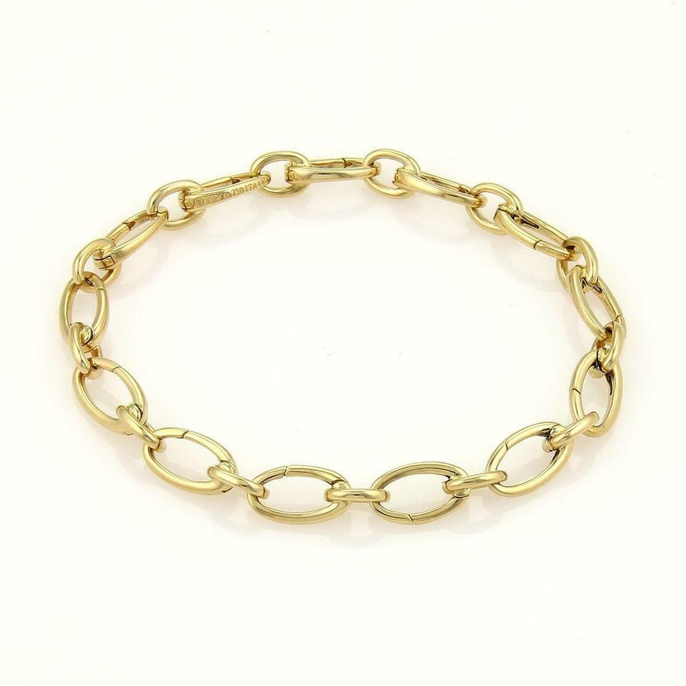 9b2ba7fb0 Tiffany & Co. All Around 18k Yellow Gold Oval Clasping Link Bracelet Image  0 ...