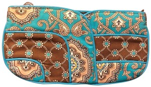Vera Bradley Cloth Teal, Brown, Tan Clutch