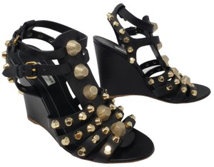 87eba9a825c Balenciaga Arena Gold Hardware Studded Cage Strappy Black Sandals
