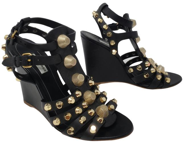 Item - Black Leather Gold-tone Studded Arena Wedge Sandals Size EU 39 (Approx. US 9) Regular (M, B)