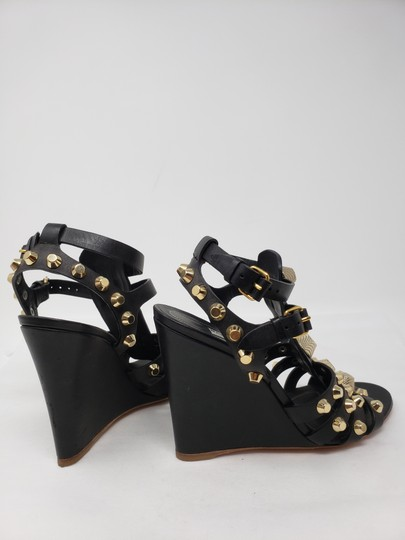 510e369a0cd Balenciaga Arena Gold Hardware Studded Cage Strappy Black Sandals Image 10