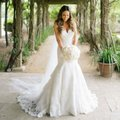 Allure Bridals Ivory Blush Lace and Satin 9215 Feminine Wedding Dress Size 14 (L)