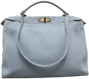 42e742980da1 Fendi Peekaboo Calfskin Large Satchel in Dusty Blue