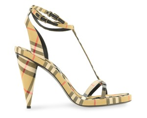 Burberry Ankle Strap Leather Beige Sandals