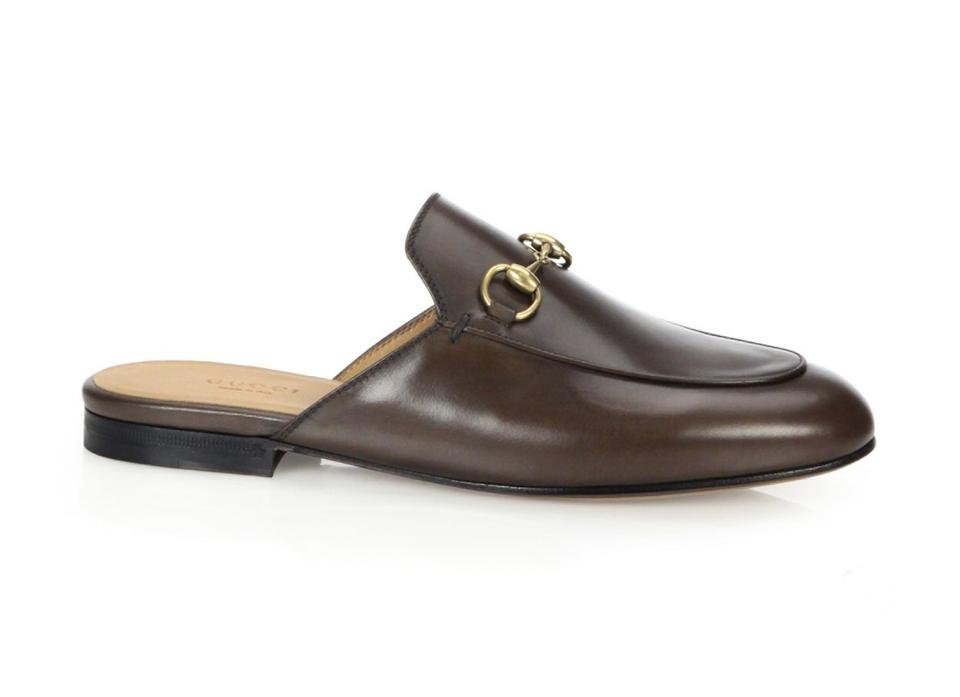 593edd95158 Gucci Brown Princetown Leather Slipper 8 Flats Size EU 38 (Approx ...