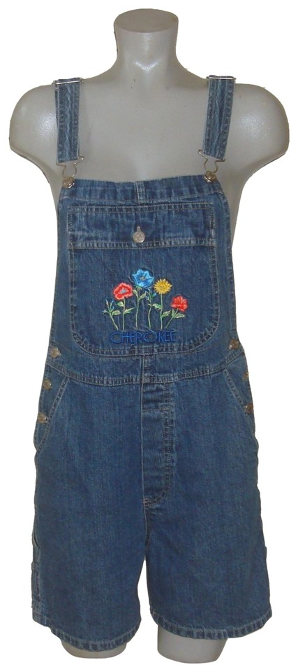 e06993ca692 Cherokee Blue Denim Floral Embroidered Bib Overall Shorts Size 8 (M ...