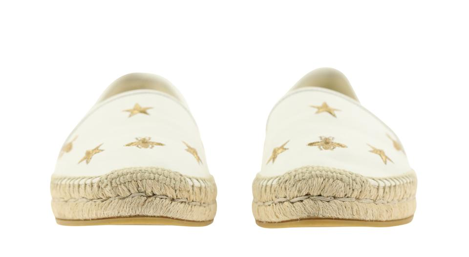 859f30b88 Gucci White Pilar Bee Embroidery Leather Espadrille Flats Size EU 39 ...