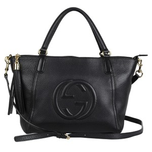 Gucci Gg Leather Soho Tote in Black