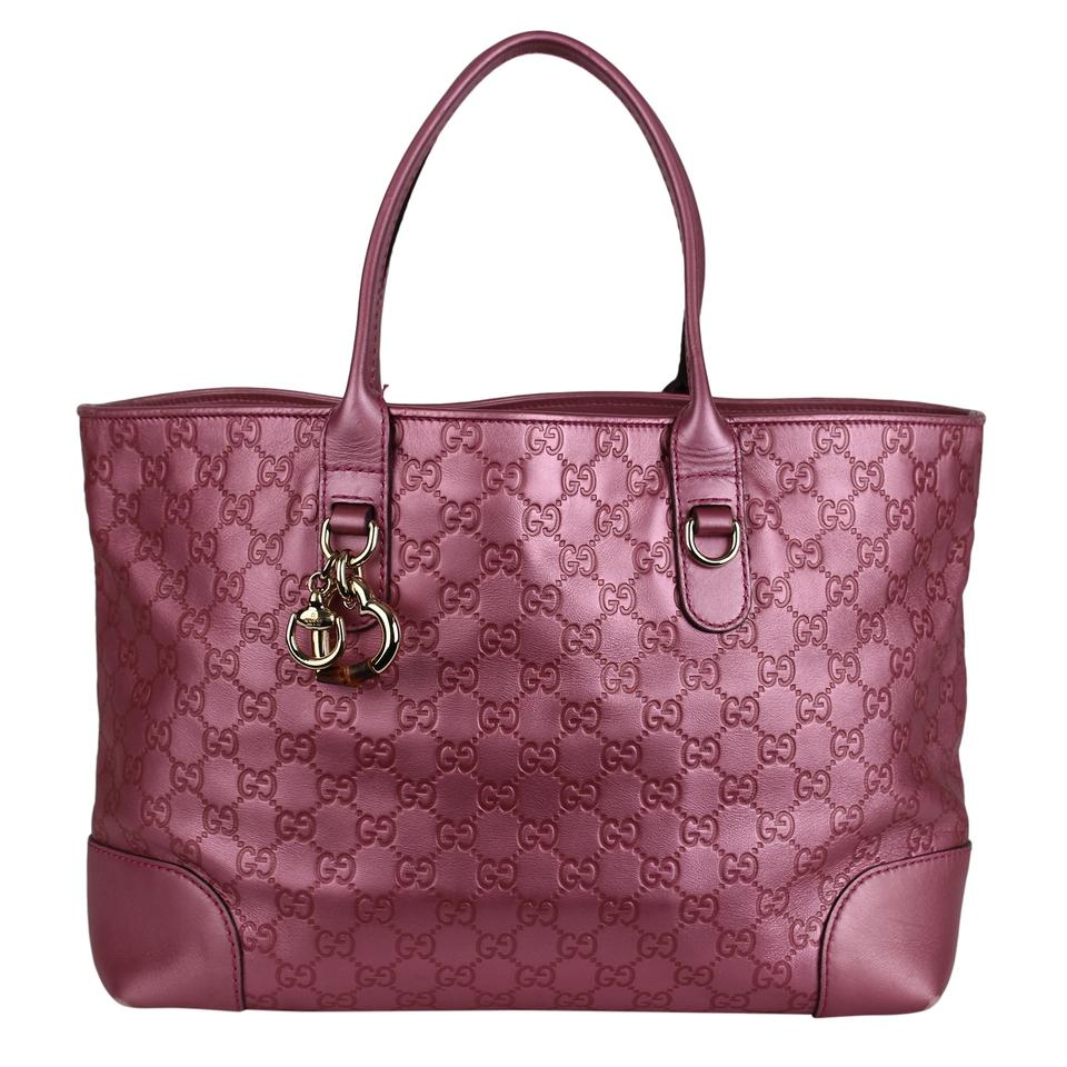 2e42d7eeb22 Gucci Guccissima Leather Metallic Gg Tote in Pink Image 0 ...