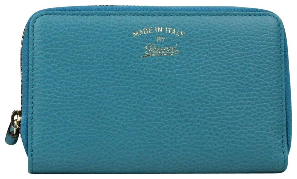 92dc12f7585a Gucci Turquoise Calf Leather Dollar Zip Around Wallet w/logo 354497 4618  Image 0 ...