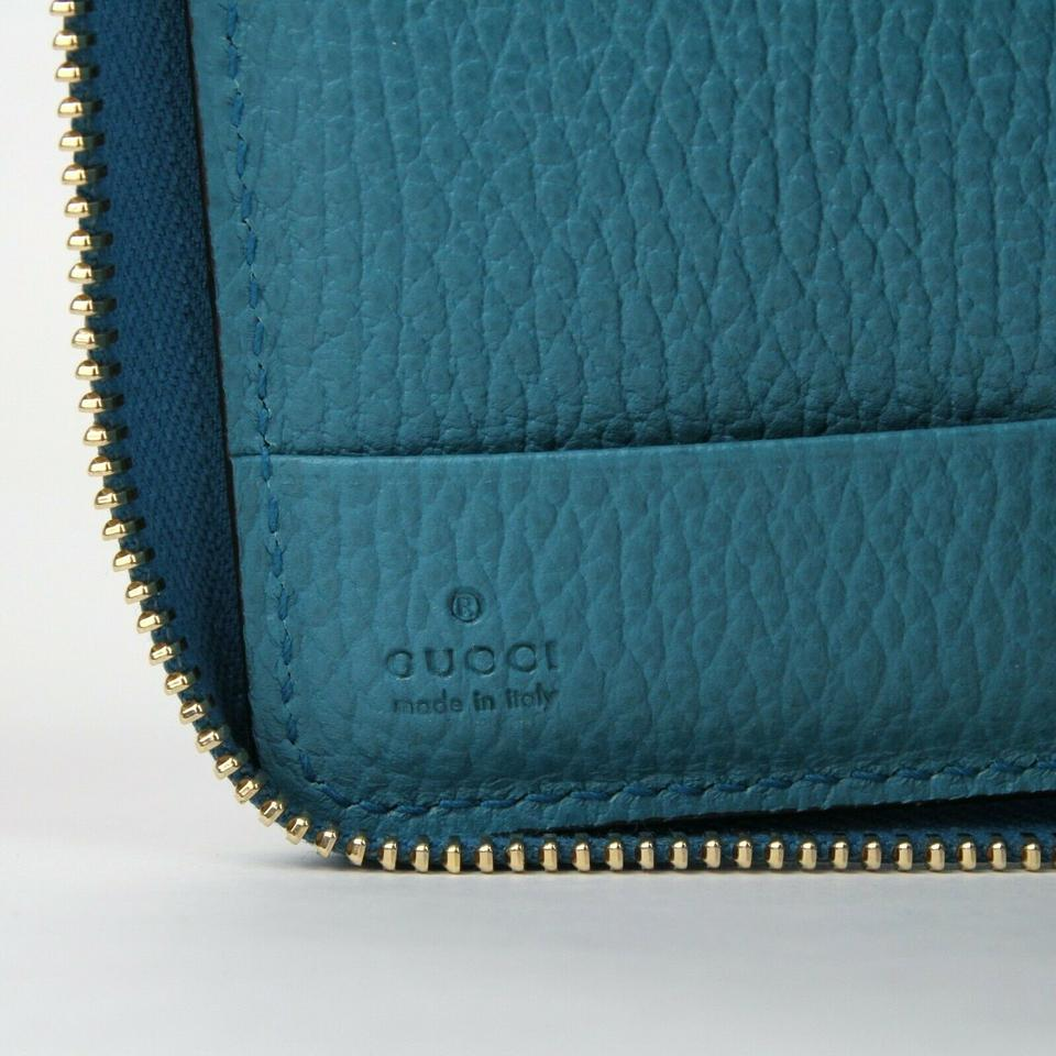 d2a2f7b9a0c3 Gucci Turquoise Calf Leather Dollar Zip Around Wallet w/logo 354497 4618  Image 8. 123456789