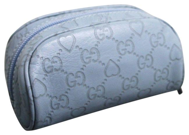 Item - Blue Leather ssima Gg Heart Makeup 277652 4704 Cosmetic Bag