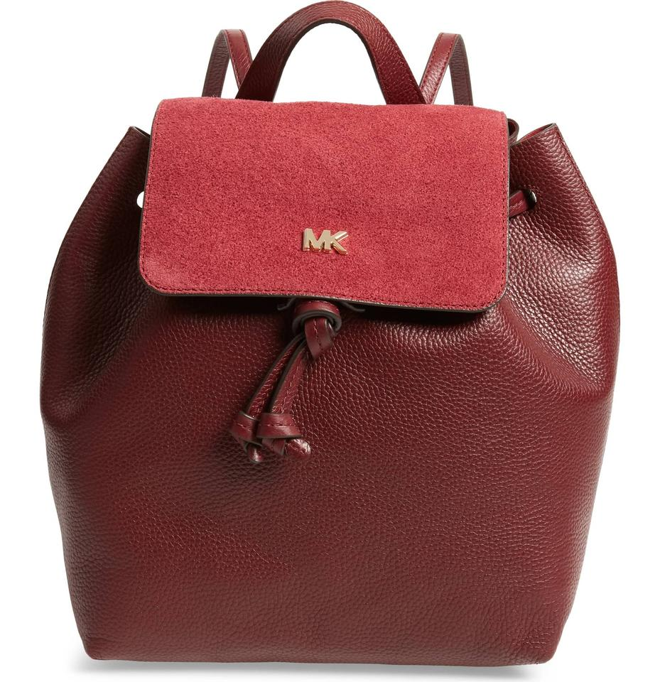 208a9f3df66e Michael Kors Junie Suede Flap Red Leather Backpack - Tradesy