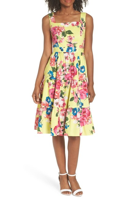 Eliza J New Yellow Multi Square Neck Floral Tiered Fit & Flare Midi Sundress Mid-length Cocktail Dress Size 8 (M) Eliza J New Yellow Multi Square Neck Floral Tiered Fit & Flare Midi Sundress Mid-length Cocktail Dress Size 8 (M) Image 1
