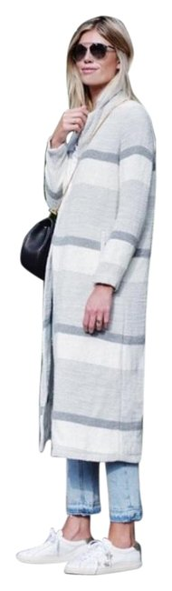 Item - Grey and White Woven Striped Long Duster Coat Size 4 (S)