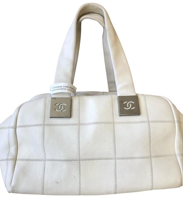 Item - Quilted White Leather Satchel