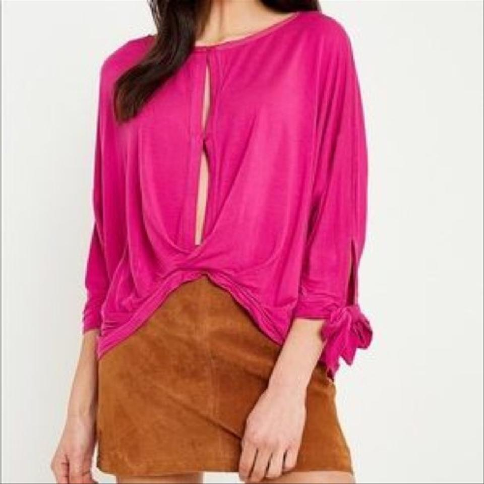 Free People Oversized Cutout Open Sleeve Tie Bow Straps Button Front