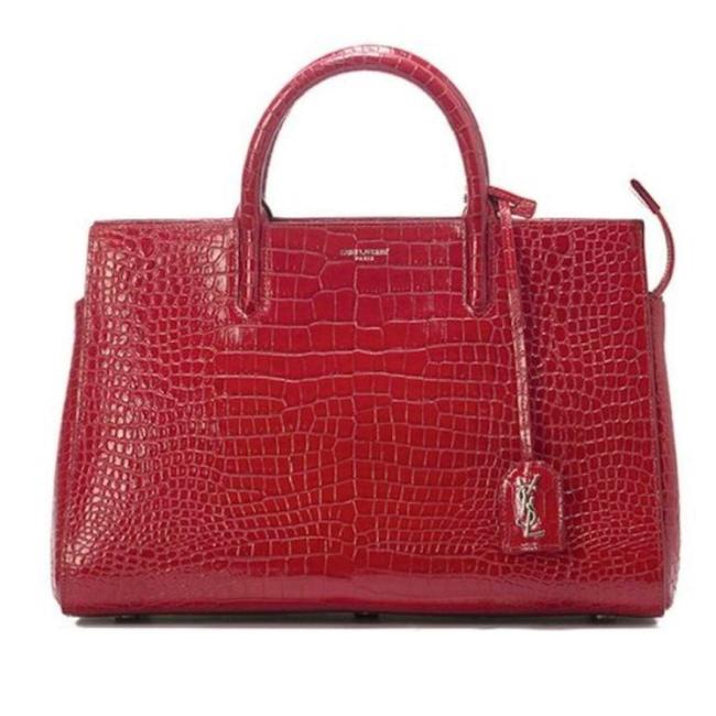 Item - Cabas Rive Gauche Red & Silver Calfskin Crocodile Embossed Leather Satchel