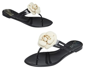 Chanel Interlocking Cc Gold Hardware Camellia Silver Hardware Jelly Black Sandals