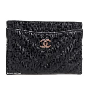 Chanel Chanel Black Chevron Caviar Card Holder