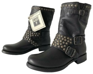 Frye Jenna Studded Triple Leather Black Boots