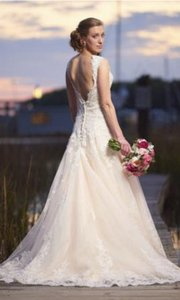 Allure Bridals Ivory Lace Over Gold 8965 Formal Wedding Dress Size 4 (S)