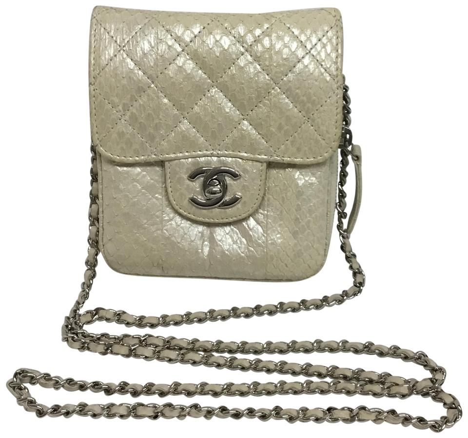a136d46f0e44a8 Chanel Wallet On A Chain Pearl Python Skin Leather Cross Body Bag ...