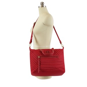 Tory Burch Quilted Nylon Satchel in Royale Red