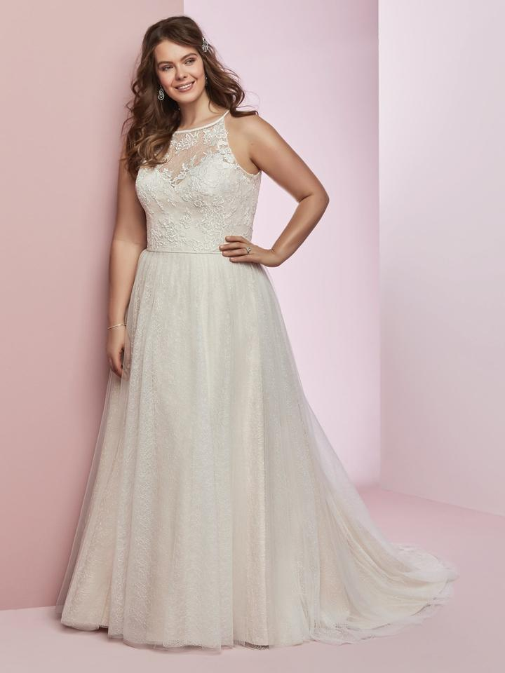 b09d5bccd4 Maggie Sottero Ivory Blush Lace and Tulle Rebecca Ingram Heidi Traditional Wedding  Dress Size 28 ...