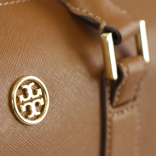 Tory Burch Robinson Leather Satchel in Tiger Eye Image 10