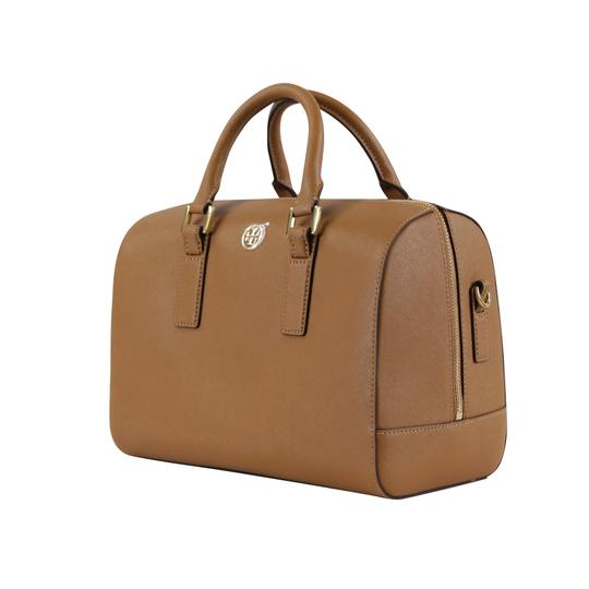 Tory Burch Robinson Leather Satchel in Tiger Eye Image 5