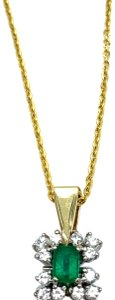 Other (787) 14k yellow gold emerald diamond necklace