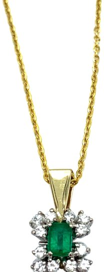 Preload https://img-static.tradesy.com/item/25183651/787-14k-yellow-gold-emerald-diamond-necklace-0-1-540-540.jpg