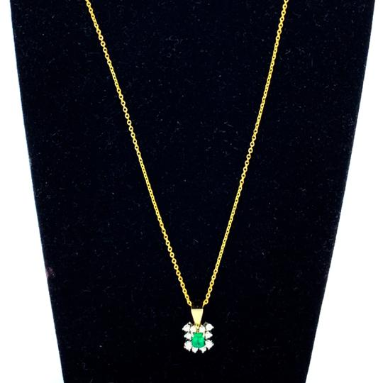 Other (787) 14k yellow gold emerald diamond necklace Image 1