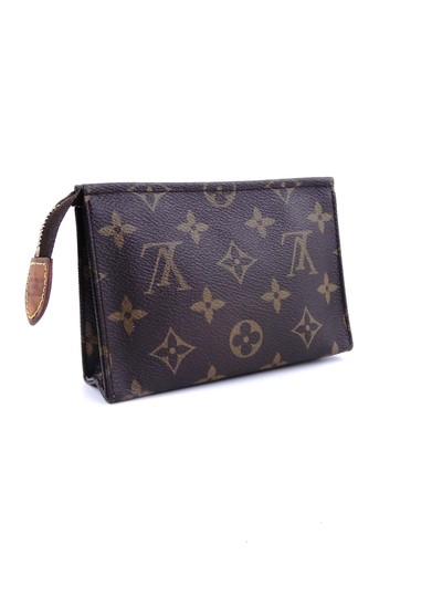 Louis Vuitton Pochette 15 Monogram Canvas Leather Toiletry Cosmetics Travel Dopp Bag Image 3