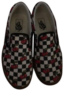 Vans black and white with red cherries Athletic