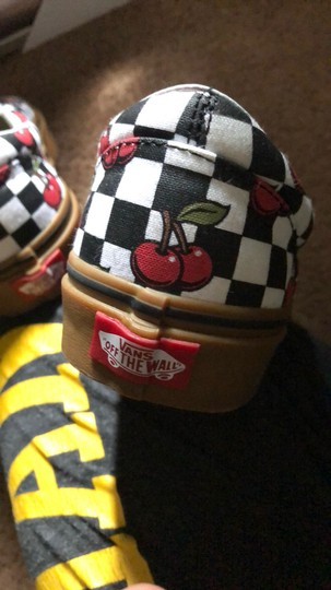Vans black and white with red cherries Athletic Image 4