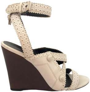 6170e2e655d Balenciaga Studded Perforated Ankle Strap White Wedges