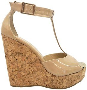 Jimmy Choo Patent T Strap Cork Neutral Wedges
