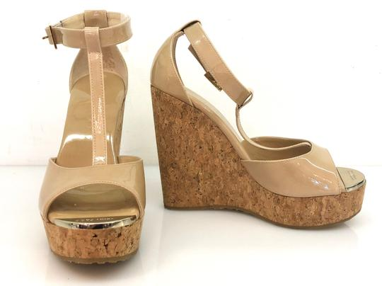 Jimmy Choo Patent T Strap Cork Neutral Wedges Image 1
