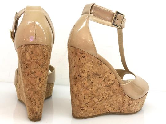 Jimmy Choo Patent T Strap Cork Neutral Wedges Image 2