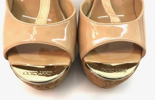 Jimmy Choo Patent T Strap Cork Neutral Wedges Image 3