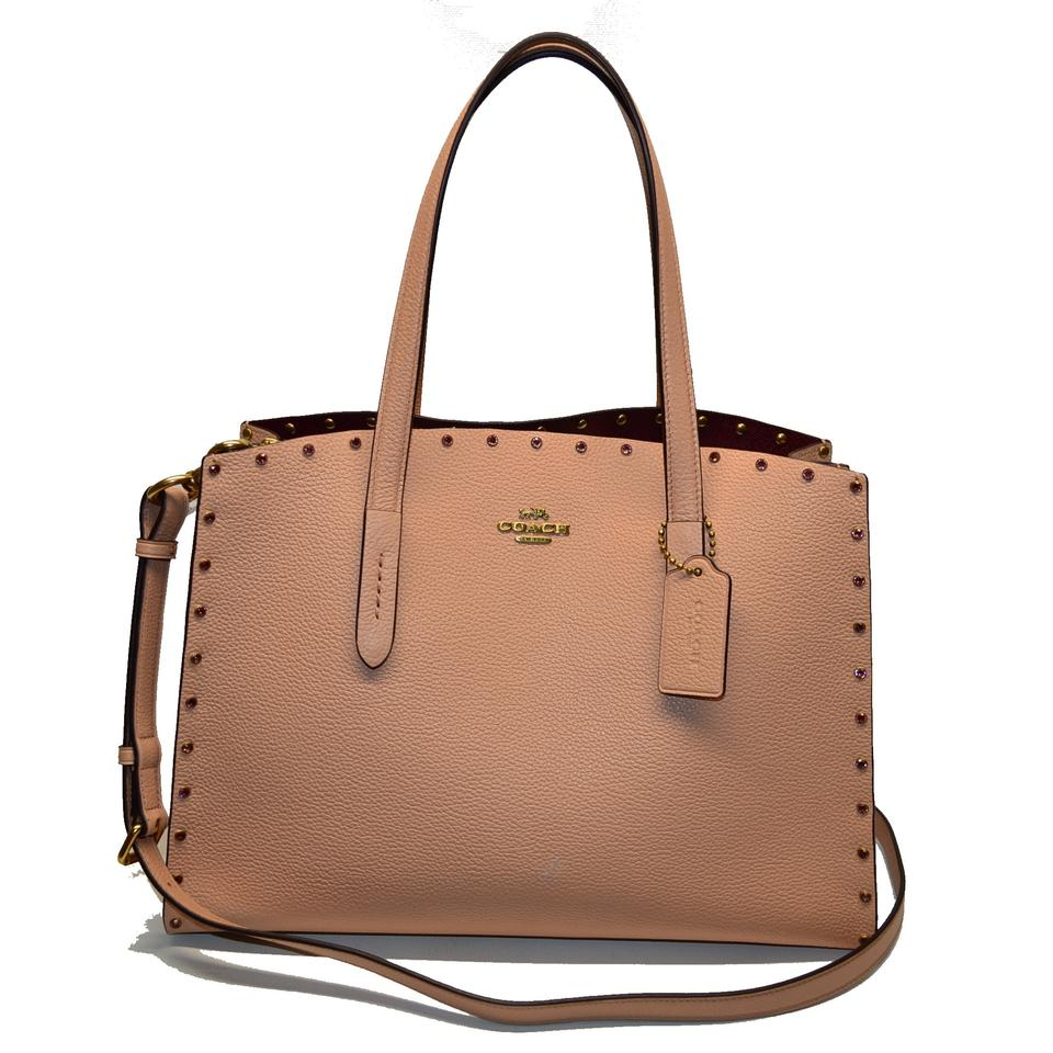 2fe135fc5ef59a Coach Carryall Crystal Border Rivets Charlie Nude Pink/Brass Leather Tote
