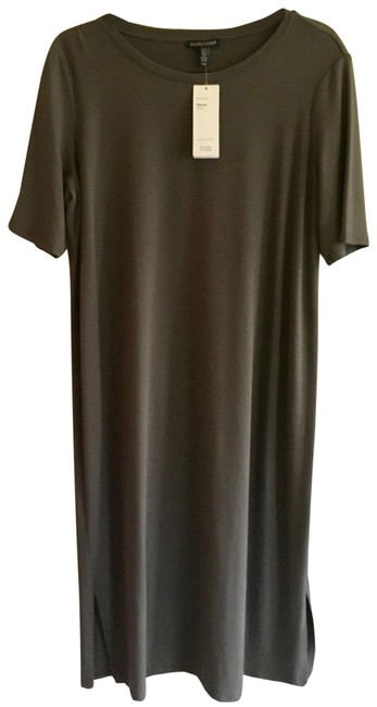 Item - Olive Crew Neck Mid-length Short Casual Dress Size 10 (M)