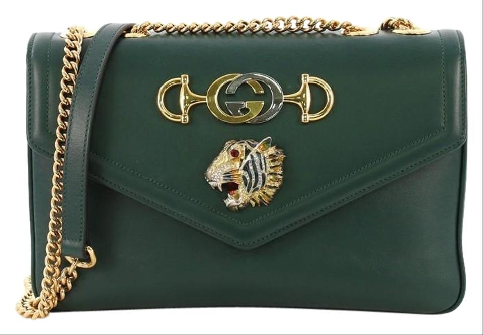 91b7605e60d Gucci Rajah Chain Medium Green Leather Shoulder Bag - Tradesy