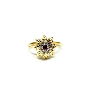Other 14k Yellow Gold Vintage Ruby and Diamond Floral Ring Size 7