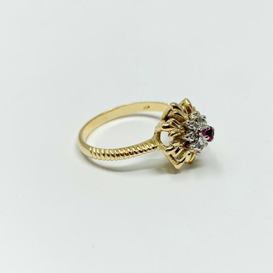 Other 14k Yellow Gold Vintage Ruby and Diamond Floral Ring Size 7 Image 1