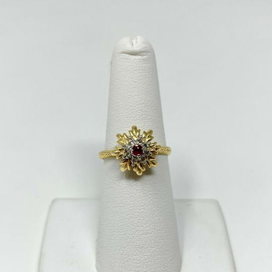Other 14k Yellow Gold Vintage Ruby and Diamond Floral Ring Size 7 Image 5